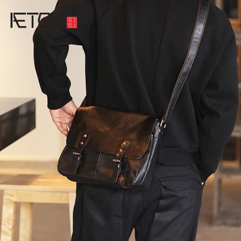 d43635f90dbd AETOO мужская кожаная сумка на одно плечо японская яловая сумка через плечо  флип-сумка мужская