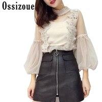 Moda Camisas Spring Autumn Style Blouse Women Sweet Tops Mesh Lace Shirts Ladies Lantern Sleeve Blusa