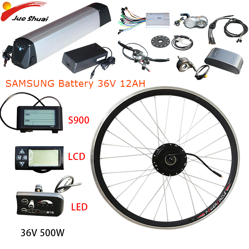 36 V 500 W kit de Conversão bicicleta Elétrica bateria Samsung 36 V 12AH 20''24''26''700c motor roda Dianteira Ebike elektrikli bisiklet