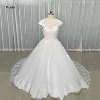 2017 New Arrival Lace Appliques Ball Gown Wedding Dresses Scoop Cap Sleeves Button Back Custom Made