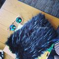 Luxury Black Faux Fur Clutch Lunch bag Purse Runway style bag Bolsa