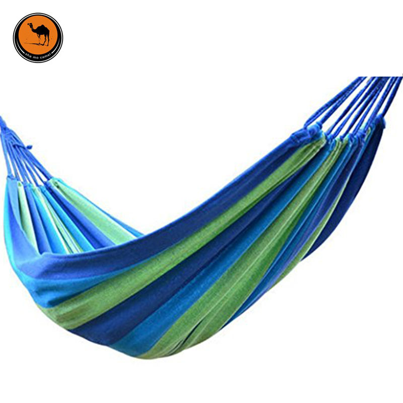 Portable Camping Hammock 200*80cm,Sky blue and Green Striped Canvas Hammocks Outdoor Camping Garden Beach Travel