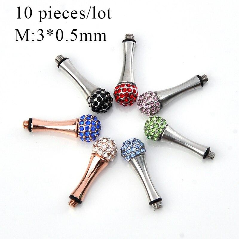 10 kusů drahokamu Odnímatelné nůžky na opěrku prstů Tang Tail Nail Clavo De Cola Kadeřnické nástroje Díly M: 3 * 0.5mm