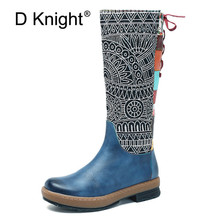 D Knight Fashion Genuine Full Grain Leather Flat with Shoes Handmade Round Toe Heel 3cm Winter Spring Knee High Boots  For Women цены онлайн