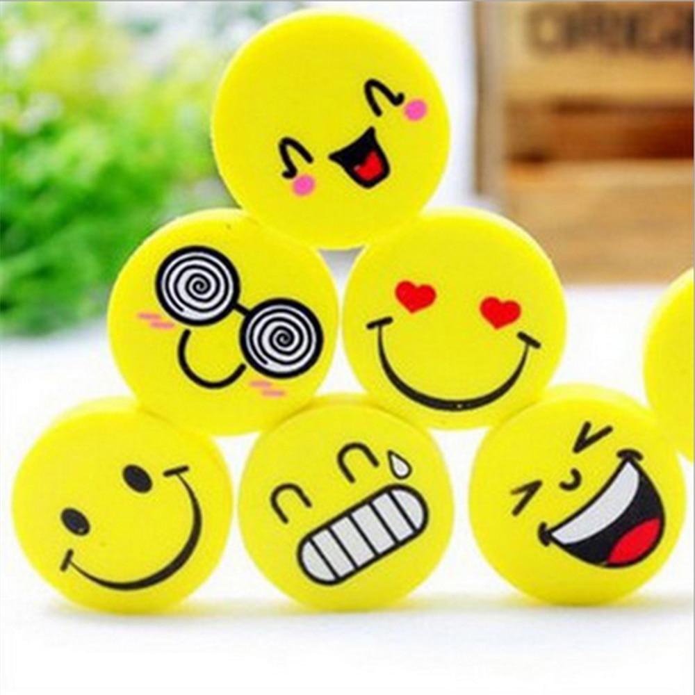 4 pcs/lot Lovely Smiling Face Eraser Cartoon Expression Erasers Children Stationery Prize Supplies Eraser Kawaii Rubber Erasers