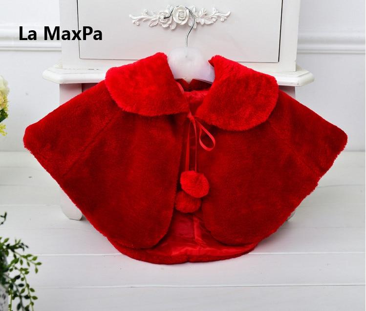 Children girl fur cape infant girls formal princess cape baby plush cloak kids gril dress cape bridesmaids Fur coat Boleros