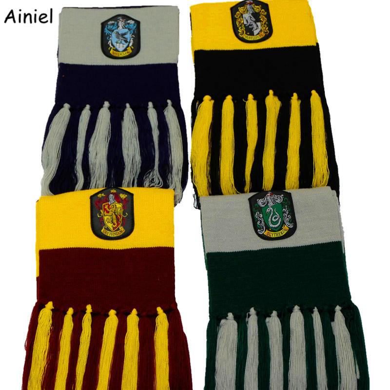 Ainiel Long knitted Scarf Gryffindor Ravenclaw Slytherin Hufflepuff  With Badge Scarves Neckerchief for Women Men Boys and Girls