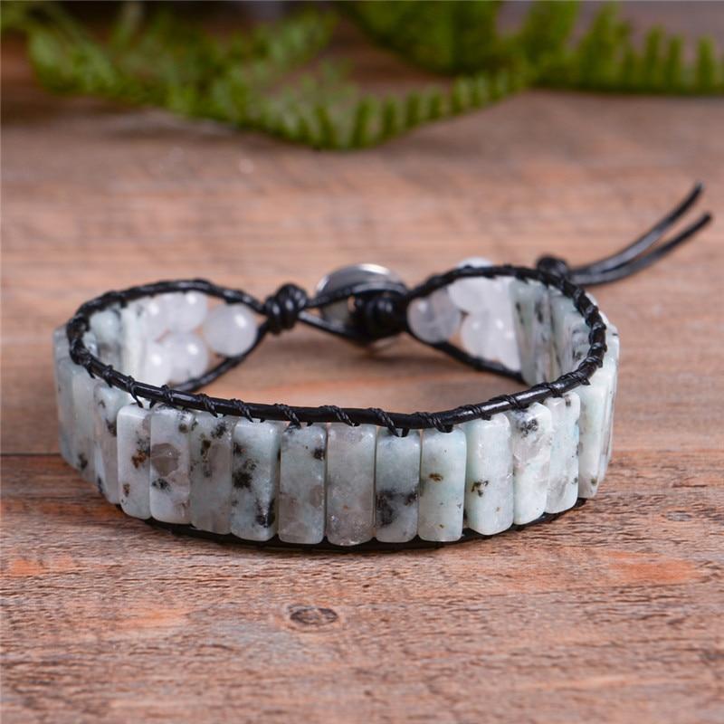 Women Boho Bracelet  Vintage Leather Wrap Bracelet  Semi Precious Stone Beaded Cuff Bracelet Girl's Gift Drop shipping