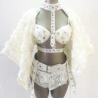 Femmes 2015 New style fashioin blanc rose fleur femelle ds plomb danseur sexy star discothèque costume justaucorps vêtements de scène body
