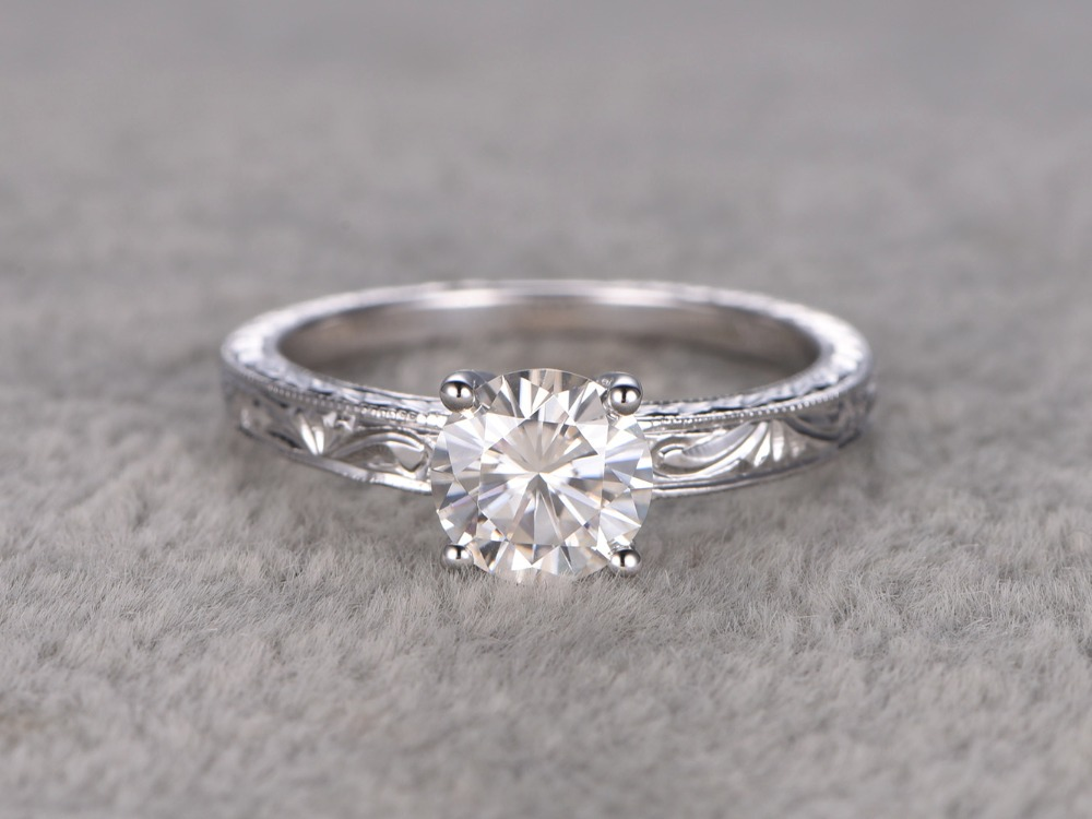 MYRAY 6.5mm Round Charles and Colvard Moissanite 14k White Yellow Rose Gold Filigree Women Engagement Wedding Ring Gift Antique