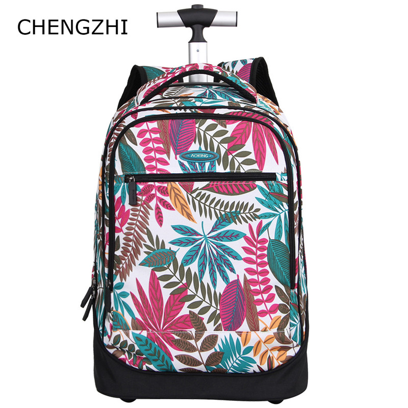 CHENGZHI HOT backpack waterproof luggage with wheel fashion students travel suitcase rolling luggage for girls