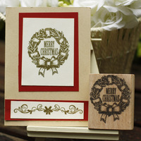 High Quality Vintage Merry Christmas 5 6cm Rubber Stamp Carimbos Wooden Scrapbooking Stamps Carimbo For Card