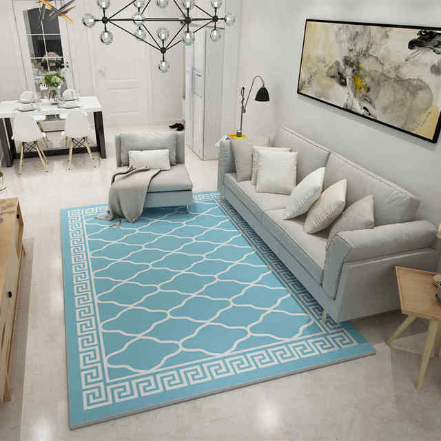 Europe Large Area Carpets Rugs Living Room Carpet Suede Mats Sky Blue  Geometric Rectangle Carpet For
