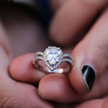 Heart Rings Silver Color Full Cubic Zircon For Women Engagement Fashion Jewelry  Accessories