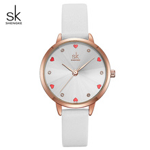 Shengke Women Watches Top Brand Luxury Quartz Ladies Heart Dial Leather Wrist Watch Relogio Feminino 2019 SK Women Watches K8049