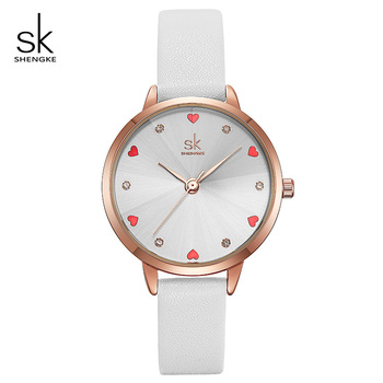 Shengke Women Watches Top Brand Luxury Quartz Ladies Heart Dial Leather Wrist Watch Relogio Feminino 2019 SK Women Watches K8049 image