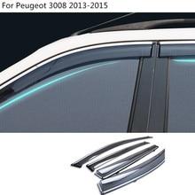 Corpo do carro styling Adesivo cobrir plástico lâmpada de vidro Da Janela de Vento Visor Chuva/Sun Guard Ventilação 4 PCS Para Peugeot 3008 2013 2014 2015