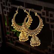 TopHanqi 2019 Boho Indian Jhumka Big Bell Drop Dangle Earrings For Women Vintage Gold Alloy Round Circle Earring Gypsy Jewelry