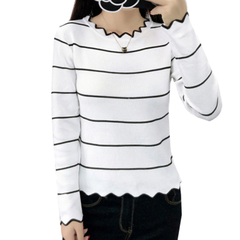 Maternity Nursing Knit Pullover Shirts Breastfeeding Tops Clothes for Pregnant Women Stripes Irregular Casual Long Sleeve Top