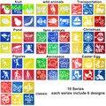 5 pacotes (30 peças) de Plástico Lavável Stencils Pintura Placa de Modelo de Desenho Set Brinquedos Crianças das Crianças Animais Frutas transporte