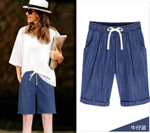 NiceMix 2019 summer new women shorts jeans plus size 6XL loose elastic female denim lady casual half length top quality