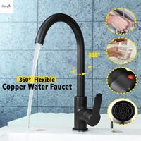 Black Copper Bathroom Basin Faucet 360 Rotatable Kitchen Sink Hot And Cold Single Handle Faucet Spout Mixer Tap Deck Mounted