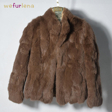 2018 Rushed Women Genuine Rabbit Fur Coats Solid Female Stand Collar Rex Coat Winter Fashion Real