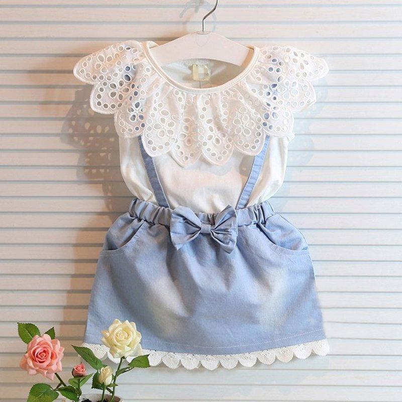 2 pcs Kids Girls Lace Collar Sleeveless Top T-Shirt + Denim Skirt Baby Outfits Clothing Set