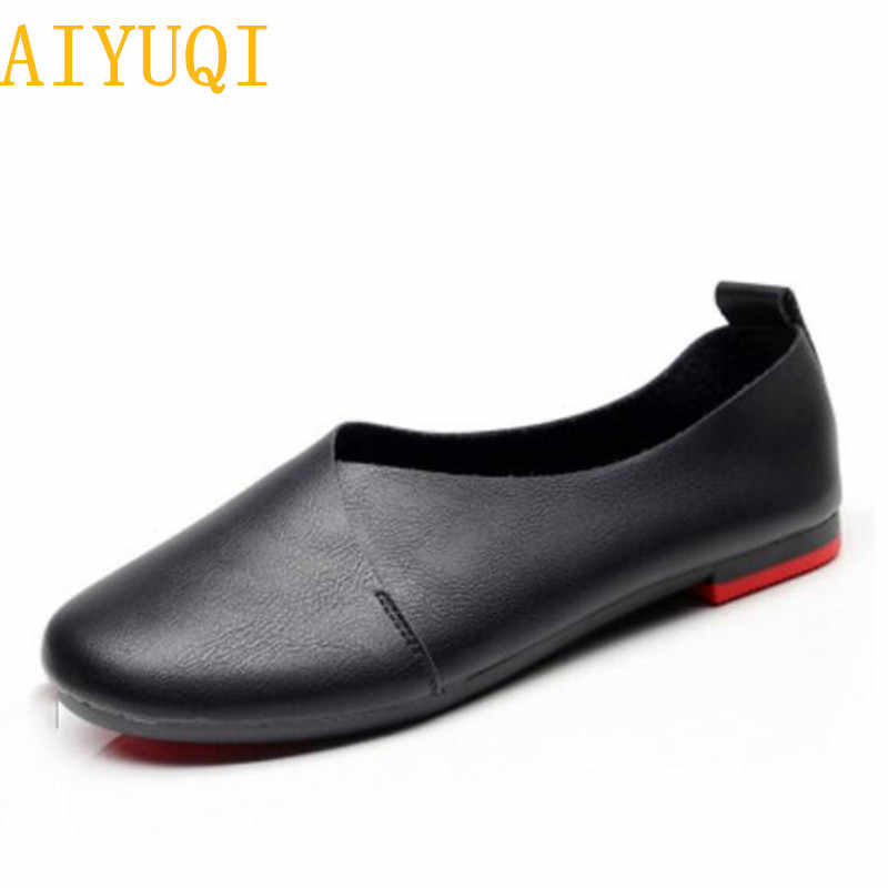 AIYUQI kadın düz ayakkabı 2020 hakiki deri kadın bezelye ayakkabı büyük boy 35-43 rahat yumuşak alt anne tek ayakkabı K20