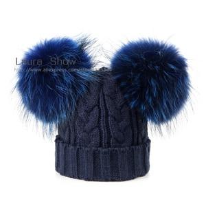 Image 4 - LAURASHOW 아기 겨울 리얼 밍크 모피 공 비니 니트 모자 키즈 따뜻한 너구리 모피 포옴 Poms Skullies Beanies Wool Cap
