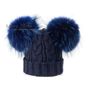 Image 4 - Laurashow ベビー冬の本物のミンクの毛皮のボールビーニーニット帽子子供暖かいアライグマの毛皮のポンポン skullies ビーニーウールキャップ