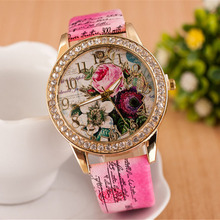 2015 Fahion Crystal Ladies Watches Flower Beauty Quartz Women Watches Casual Leather Dress Wristwatches relogio feminino