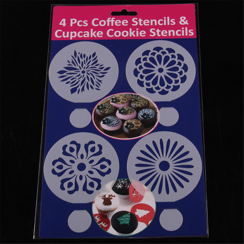 cake decorating supplies cheap cake stencil4pcsset multi purpose coffee cupcake - Wholesale Cake Decorating Supplies