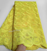 plain Yellow Real Swiss lace Very soft cotton lace African lace fabric top quality 5 yards/PC 7150