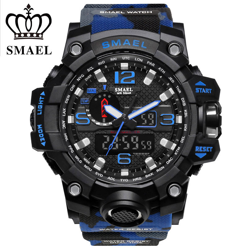 цена на SMAEL Display Digital Watch Outdoor Sports Watches Camouflage Black Color Silicone Quartz Watch 50m Water Resistant Wristwatches