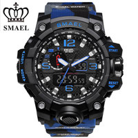 SMAEL Display Digital Watch Outdoor Sports Watches Camouflage Black Color Silicone Quartz Watch 50m Water Resistant