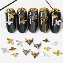 100pcs/lot 3D Alloy Bee Cow head Nail Art Gold Rivets & Studs Manicure Accessories Decoration Nails Charms