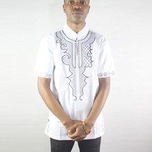 White Asymmetric Embroidery Africa Ethnic Tops Side Slit Dashiki Shirts for Male