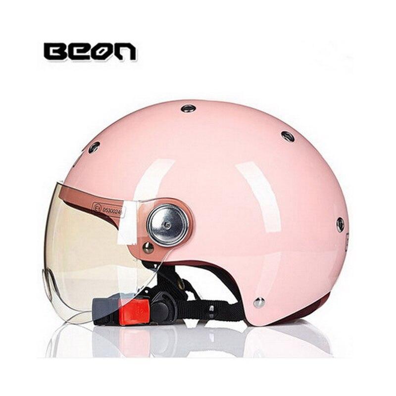 2018 été femmes électrique moto rose casque, dame cool scooter helme BEON 103 vélo électrique sécurité taille M L XL