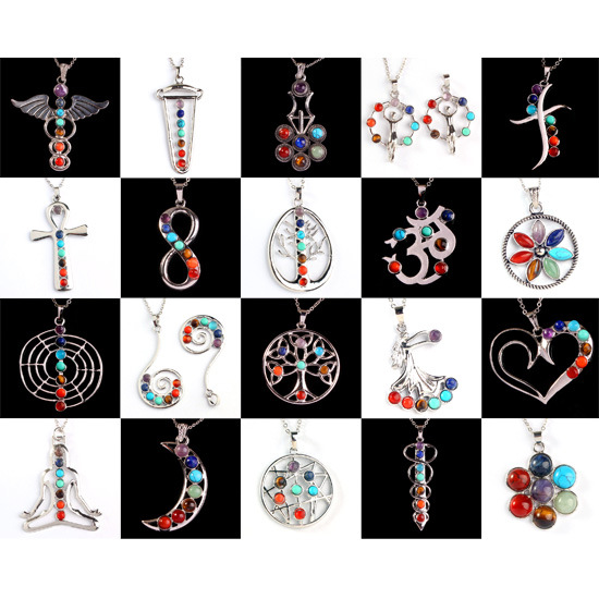 Indian Namaste Yoga Necklace Silver Plated Rainbow Natural Stone 7 Chakra Pendant Necklaces For Women Jewelry