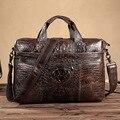 """Garantido Bolsa De Couro Genuíno dos homens Briefcase Homens Messenger Bags Cowskin Naturais 14 """"Laptop Bolsa Homem bolsa de Ombro Único Satchel"""