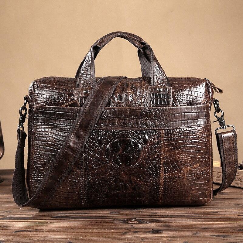 """Εγγυημένη γνήσια δερμάτινη τσάντα Χαρτοφύλακας υψηλής ποιότητας ατόμων κροκόδειλου 14 """"φορητό χαρτοφυλάκιο δέρματος για άνδρες Maletin Hombre"""