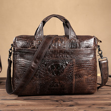 Guaranteed Genuine Leather Bag High Quality Men's Crocodile Briefcase 14″ Laptop Leather Briefcases Men Maletin Hombre