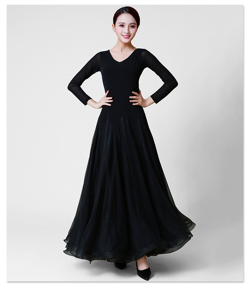 Ballroom Dance Dresses Lady Long Sleeve Black Tango Waltz Dancing Skirt 2019 Γυναίκες Ballroom Dance Competition Dress