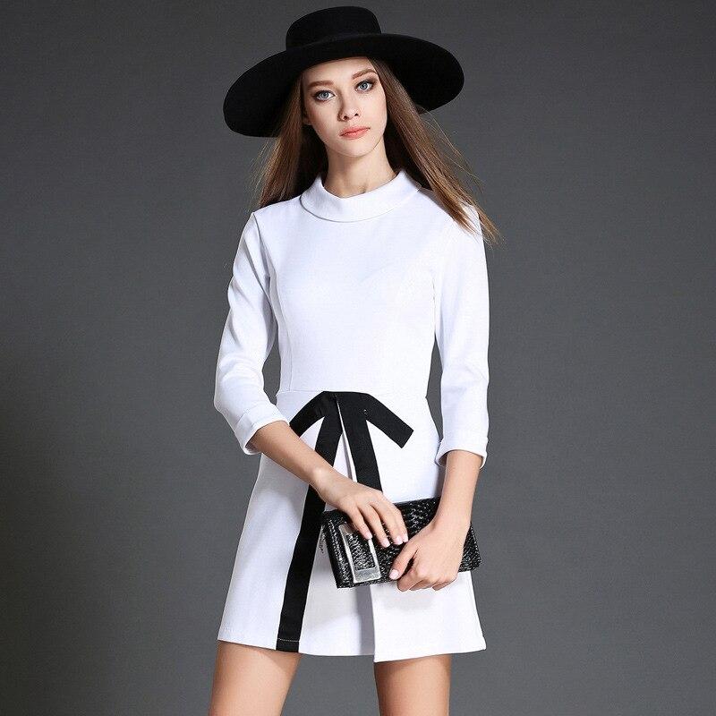 casual femmes vtements de haute qualit blanc noir colorblock stand col trois manches trimestre automne femmes - Color Block Vetement