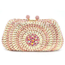 Pink Evening Dress Bag Women Dinner Clutch Bag Pochette Soiree Lady Clutches With Crystals Pearl Diamond party Purse SC248