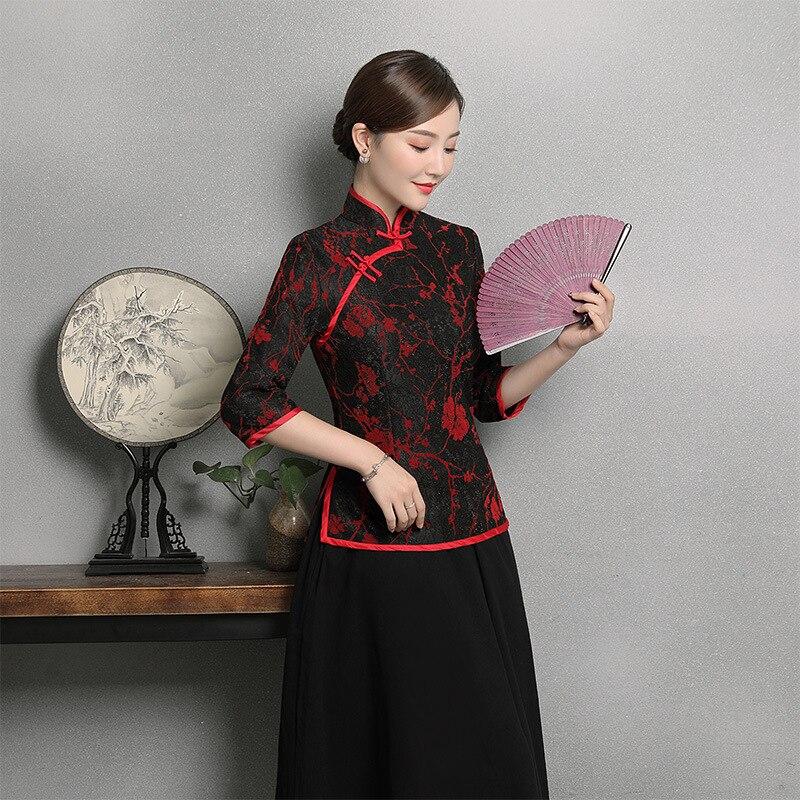 Nouveauté Tradition chinoise chemisier femme dentelle chemise hauts été broderie vêtements fleur grande taille M L XL XXL 3XL 4XL