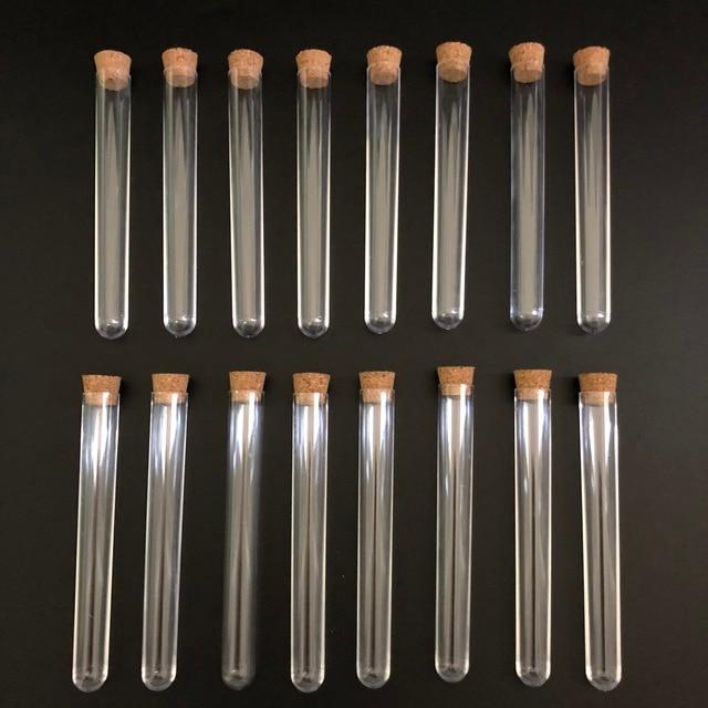 100 adet 12x100mm Şeffaf Plastik test tüpleri mantarlar ile Plastik laboratuvar test yuvarlak boru fişi laboratuvar Şeffaf plastik tüpler flakon