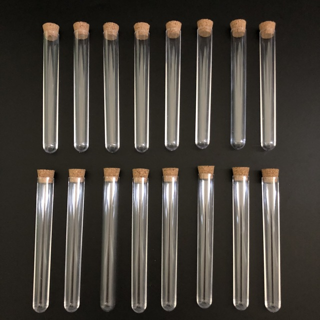 100pcs 12x100mm Clear Plastic test tubes with corks Plastic laboratory test round tube plug lab Transparent plastic tubes vial
