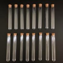 400pcs 12x100mm Clear Plastic test tubes with corks Plastic laboratory test round tube plug lab Transparent plastic tubes vial